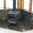 Green Marinace Granite Wood Stove Base with Wall and Window Sills